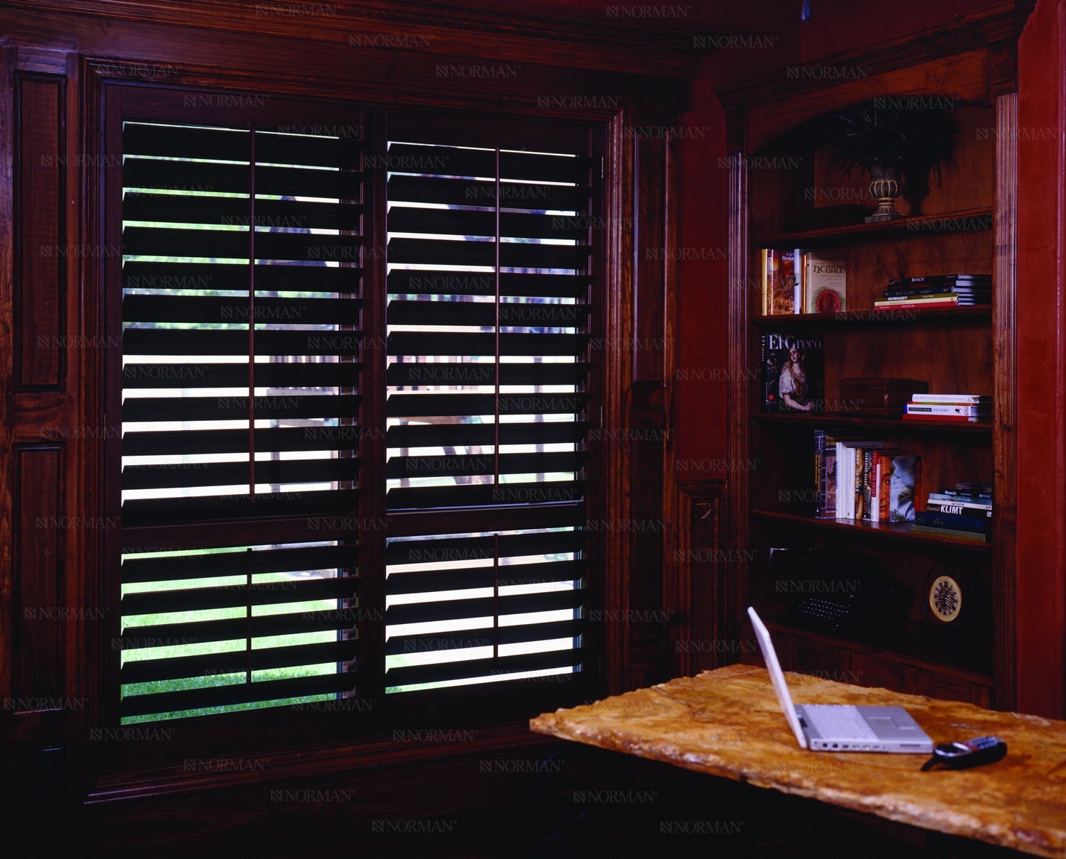 Home office plantation shutters